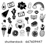 vector hand drawn summer... | Shutterstock .eps vector #667609447