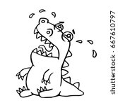 cute crying dragon. vector... | Shutterstock .eps vector #667610797