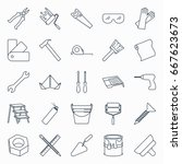 collection of outline repair... | Shutterstock .eps vector #667623673