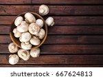 mushrooms  top view | Shutterstock . vector #667624813