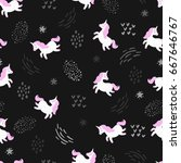 seamless pattern with cute... | Shutterstock .eps vector #667646767