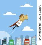 cartoon businessman flying over ... | Shutterstock .eps vector #667663093