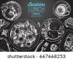 business lunch top view frame.... | Shutterstock .eps vector #667668253