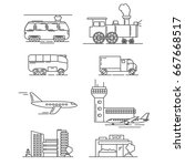a set of icons with plane  the... | Shutterstock .eps vector #667668517