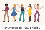 dancing people in a retro disco.... | Shutterstock .eps vector #667673557