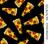pizza seamless doodle pattern   Shutterstock .eps vector #667678723