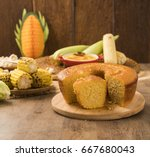 corn cake on the table with... | Shutterstock . vector #667680043