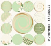 vector set of 12 1 round label...