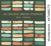 vector set of brush strokes or... | Shutterstock .eps vector #667688173
