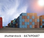 container ship yard in import... | Shutterstock . vector #667690687