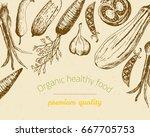 organic healthy food sketch... | Shutterstock .eps vector #667705753