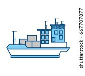 isolated big merchandise ship | Shutterstock .eps vector #667707877