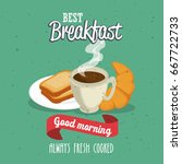 breakfast concept with food and ... | Shutterstock .eps vector #667722733