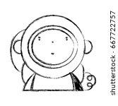 figure nice astronaut with... | Shutterstock .eps vector #667722757