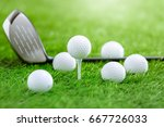 golf balls and golf club on... | Shutterstock . vector #667726033