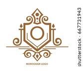 monogram logo template with...   Shutterstock .eps vector #667731943