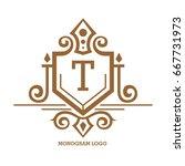 monogram logo template with...   Shutterstock .eps vector #667731973