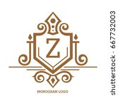 monogram logo template with...   Shutterstock .eps vector #667732003