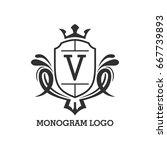 monogram logo template with...   Shutterstock .eps vector #667739893
