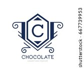 monogram logo template with...   Shutterstock .eps vector #667739953