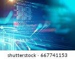 programming code abstract... | Shutterstock . vector #667741153