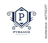 monogram logo template with...   Shutterstock .eps vector #667742197