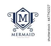 monogram logo template with...   Shutterstock .eps vector #667742227