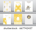 Stock vector set of cute animals poster template cards cats vector illustrations 667742437