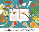 top view cooking table vector... | Shutterstock .eps vector #667759267