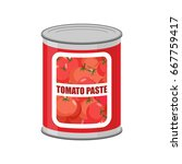 tomato paste tin can. canned... | Shutterstock .eps vector #667759417