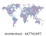 dotted world map   abstract... | Shutterstock .eps vector #667761697
