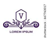monogram logo template with...   Shutterstock .eps vector #667763017