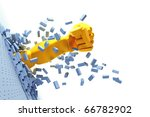 3d hand burst through brick wall | Shutterstock . vector #66782902
