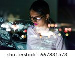 businesswoman looking at... | Shutterstock . vector #667831573
