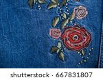 Embroidered  Rose Flowers On...