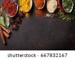 various spices spoons on stone... | Shutterstock . vector #667832167