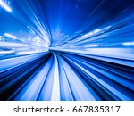motion blur train moving in... | Shutterstock . vector #667835317