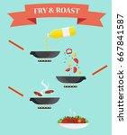 frying and roasting food in a... | Shutterstock .eps vector #667841587