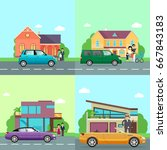 family transport. collection of ...   Shutterstock . vector #667843183
