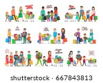collection of icons with family ... | Shutterstock . vector #667843813