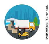 icon warehouse and transport... | Shutterstock .eps vector #667844803