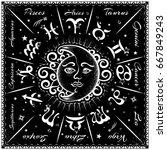 zodiac signs  horoscope  vector ... | Shutterstock .eps vector #667849243