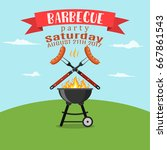 invitation card on the barbecue.... | Shutterstock .eps vector #667861543