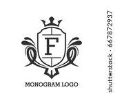 monogram logo template with...   Shutterstock .eps vector #667872937