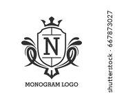 monogram logo template with...   Shutterstock .eps vector #667873027