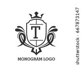 monogram logo template with...   Shutterstock .eps vector #667873147