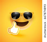 realistic yellow smiley with... | Shutterstock .eps vector #667874893