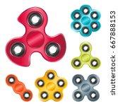 realistic set of hand spinner... | Shutterstock .eps vector #667888153