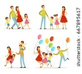 happy family portrait. father ... | Shutterstock .eps vector #667895617