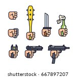 cold weapon and firearms... | Shutterstock .eps vector #667897207